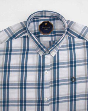 پیراهن چهارخانه مردانه 4019- سفید (3)