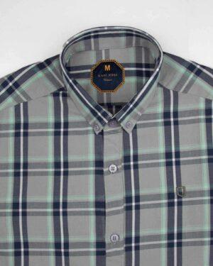 پیراهن چهارخانه مردانه 4019- طوسی کمرنگ (6)