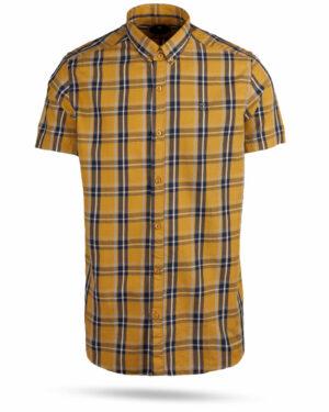 پیراهن چهارخانه مردانه 4019- عسلی (1)