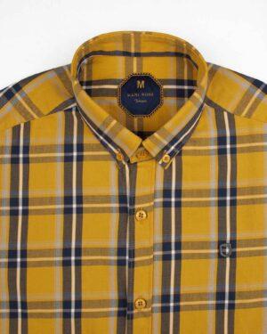 پیراهن چهارخانه مردانه 4019- عسلی (3)