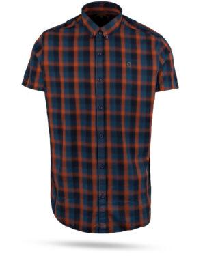 پیراهن چهارخانه مردانه 4019- نارنجی قرمز (1)