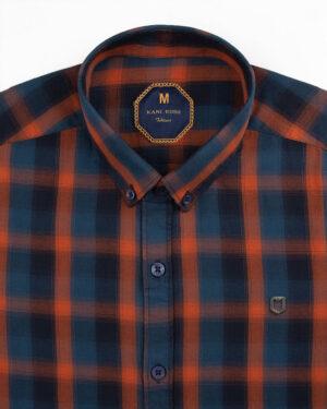 پیراهن چهارخانه مردانه 4019- نارنجی قرمز (3)