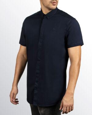 پیراهن آستین کوتاه مردانه 4032- سرمه ای تیره (8)
