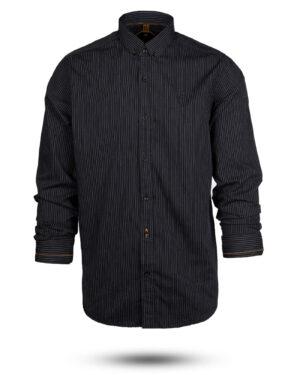 پیراهن راه راه مردانه 4409- مشکی (1)