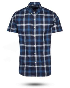 پیراهن مردانه آستین کوتاه VK9919- آبی تیره (1)