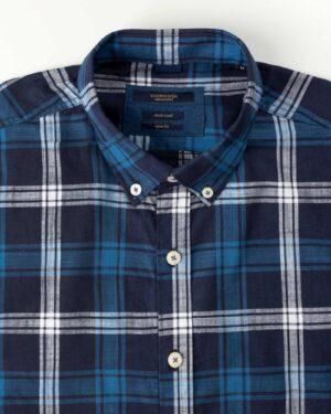 پیراهن مردانه آستین کوتاه VK9919- آبی تیره (4)