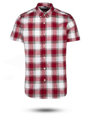 پیراهن مردانه آستین کوتاه VK9919- جگری (1)