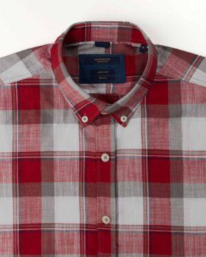 پیراهن مردانه آستین کوتاه VK9919- جگری (4)