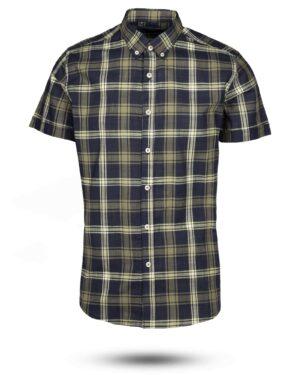 پیراهن مردانه آستین کوتاه VK9919- زیتونی (1)