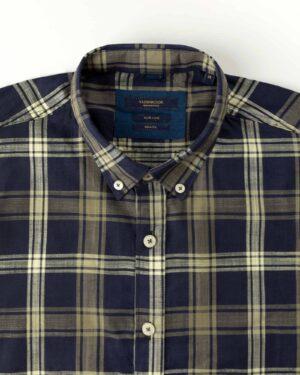 پیراهن مردانه آستین کوتاه VK9919- زیتونی (4)
