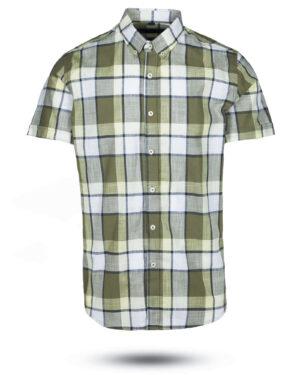 پیراهن مردانه آستین کوتاه VK9919- لیمویی (1)