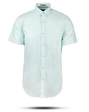 پیراهن مردانه آستین کوتاه VK992- سبزآبی روشن (1)