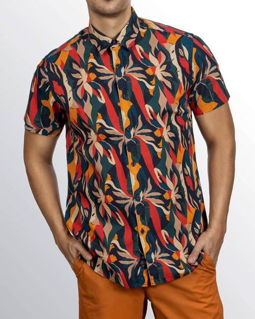 پیراهن هاوایی مردانه 4030- قرمز (9)