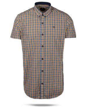 پیراهن چهارخانه مردانه 4026- بادامی (1)