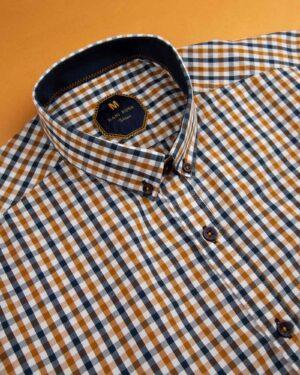 پیراهن چهارخانه مردانه 4026- بادامی (5)