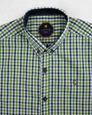 پیراهن چهارخانه مردانه 4026- سبز چمنی (4)