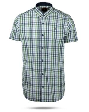 پیراهن چهارخانه مردانه 4026- سبز کمرنگ (1)
