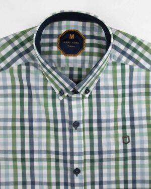 پیراهن چهارخانه مردانه 4026- سبز کمرنگ (4)