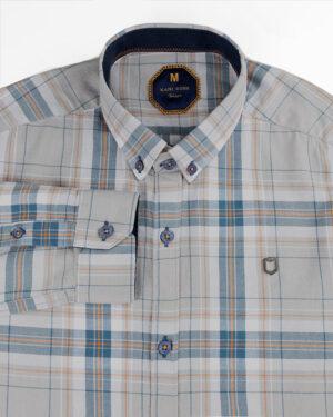 پیراهن چهارخانه مردانه 4415- خاکستری محو (2)