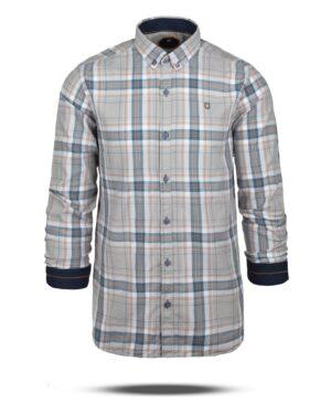پیراهن چهارخانه مردانه 4415- خاکستری محو (4)