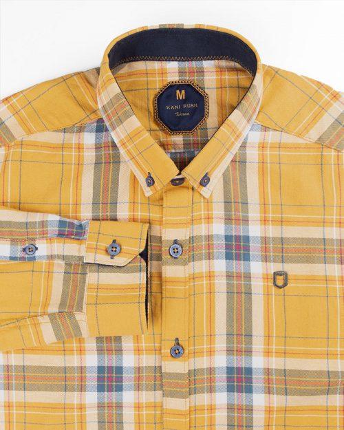 پیراهن چهارخانه مردانه 4415- عسلی (2)