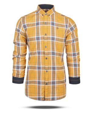 پیراهن چهارخانه مردانه 4415- عسلی (6)