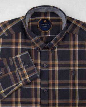 پیراهن چهارخانه مردانه 4416- دودی (5)
