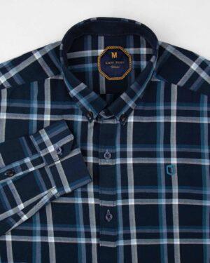 پیراهن چهارخانه مردانه 4416- سرمه ای (2)