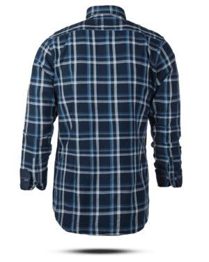 پیراهن چهارخانه مردانه 4416- سرمه ای (4)