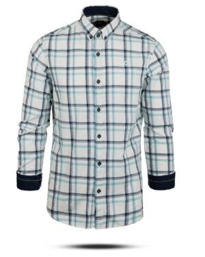 پیراهن چهارخانه مردانه 4416- سفید (2)