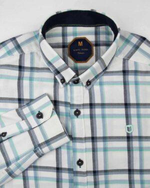 پیراهن چهارخانه مردانه 4416- سفید (4)