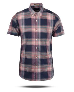 پیراهن چهارخانه مردانه VK9922- سرمه ای تیره (1)