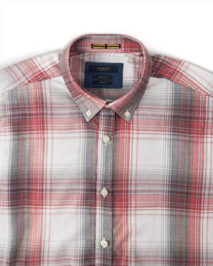 پیراهن چهارخانه مردانه VK9922- سفید (3)
